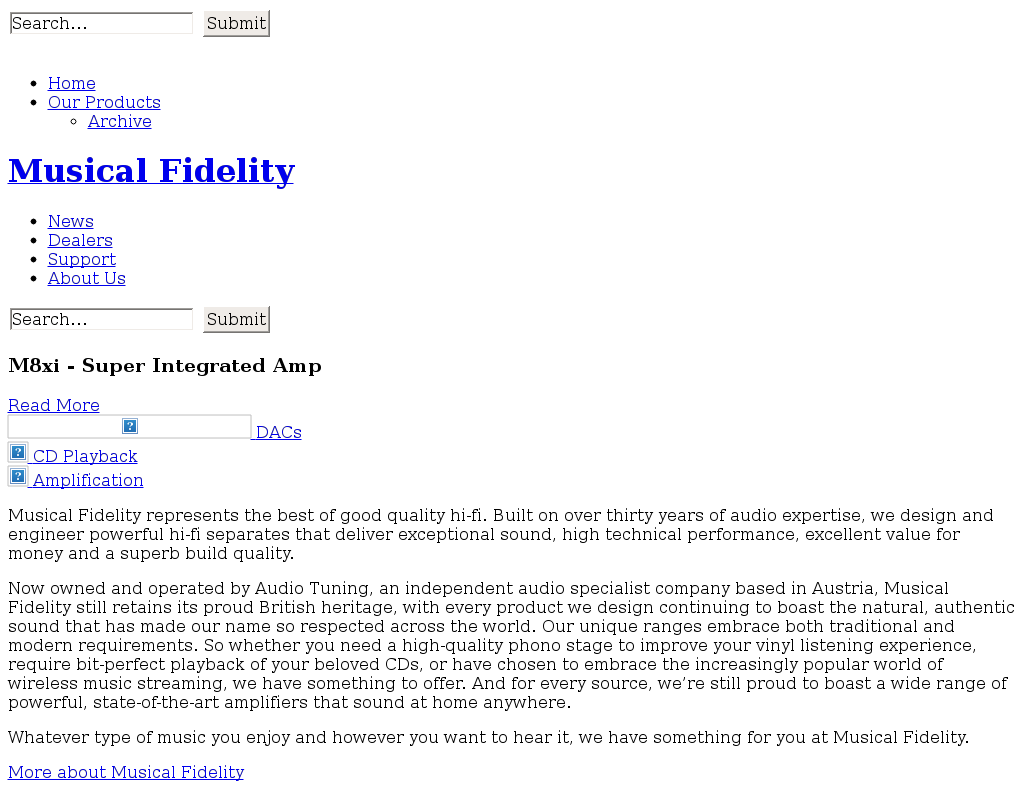 Musical Fidelity homepage