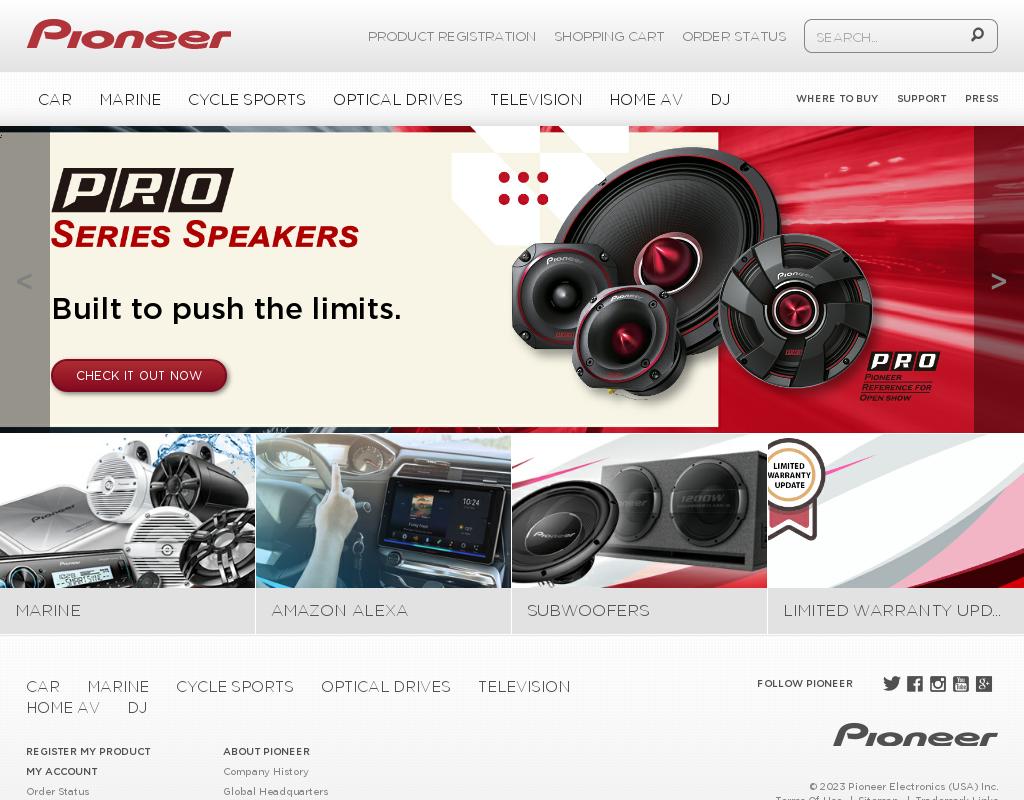 Pioneer homepage